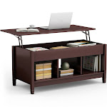 Costway Lift Top Coffee Table with Hidden Compartment and Storage Shelves Modern Furniture