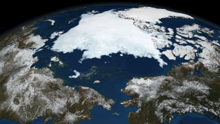 The animation of Arctic sea ice from January 1 through September 12, the date identified by NSIDC as the minimum extent for 2008. This animation has a two second hold on September 12, 2008.