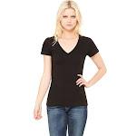 Bella + Canvas - Ladies' Jersey Short-Sleeve Deep V-Neck T-Shirt-BLACK-2XL