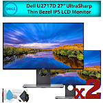 """Dell U2717D 27"""" 16:9 UltraSharp Thin Bezel IPS LCD Computer Monitor (2-Pack) Best Value Bundle with LCD Screen Cleaning Kit for Home Office"""