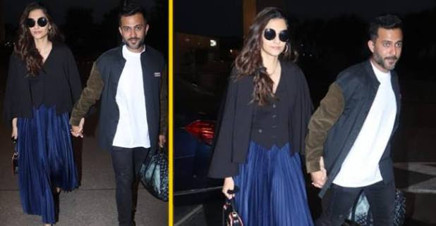 Sonam Kapoor and Anand Ahuja Walks Hand in Hand at Mumbai Airport