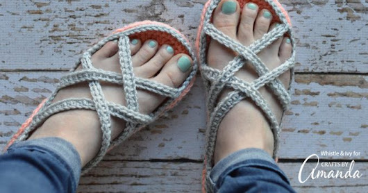 Crochet Sandals: an adorable adult craft making crochet slippers!