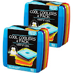 Fit & Fresh Cool Coolers Slim Reusable Ice Packs for Lunch Boxes, Lunch Bags and Coolers, Set of 8, Multicolored