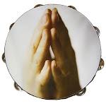 Mainframe 10 in. Zebra Tambourine Praying Hands MA14541
