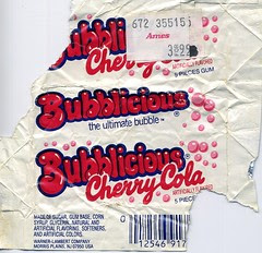 Cherry Cola Bubblicious gum wrapper