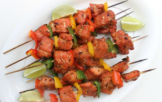Grilled Salmon Skewers - Afropolitan Mom