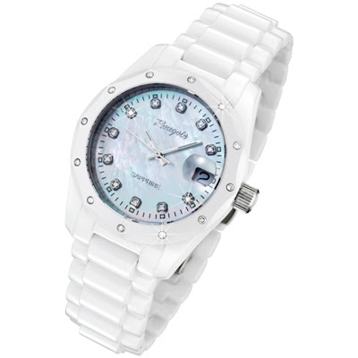 Rougois Women's White Ceramic Watch with 23 Genuine Diamonds and Mother of Pearl Dial