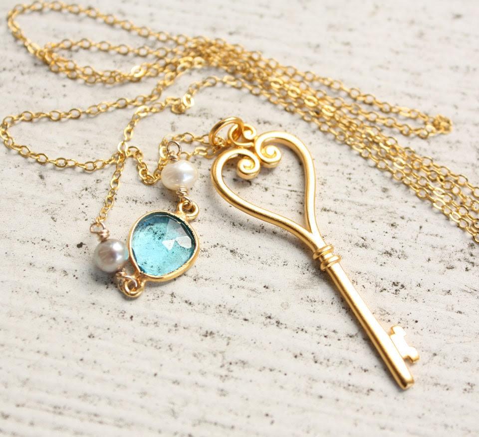Gold Skeleton Key Necklace - Long Key - Romantic Key Necklace
