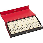 WE Games DOUBLE 6 Dominoes Ivory color tiles with black dots in black vinyl case