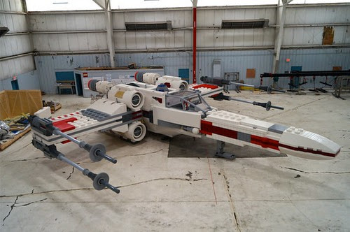 In person with the life-size LEGO Star Wars X-wing - largest LEGO model ever