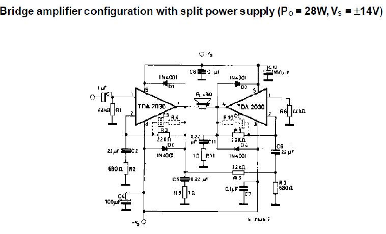 Tda2030 Bridge Amplifier Circuit - PCB Circuits