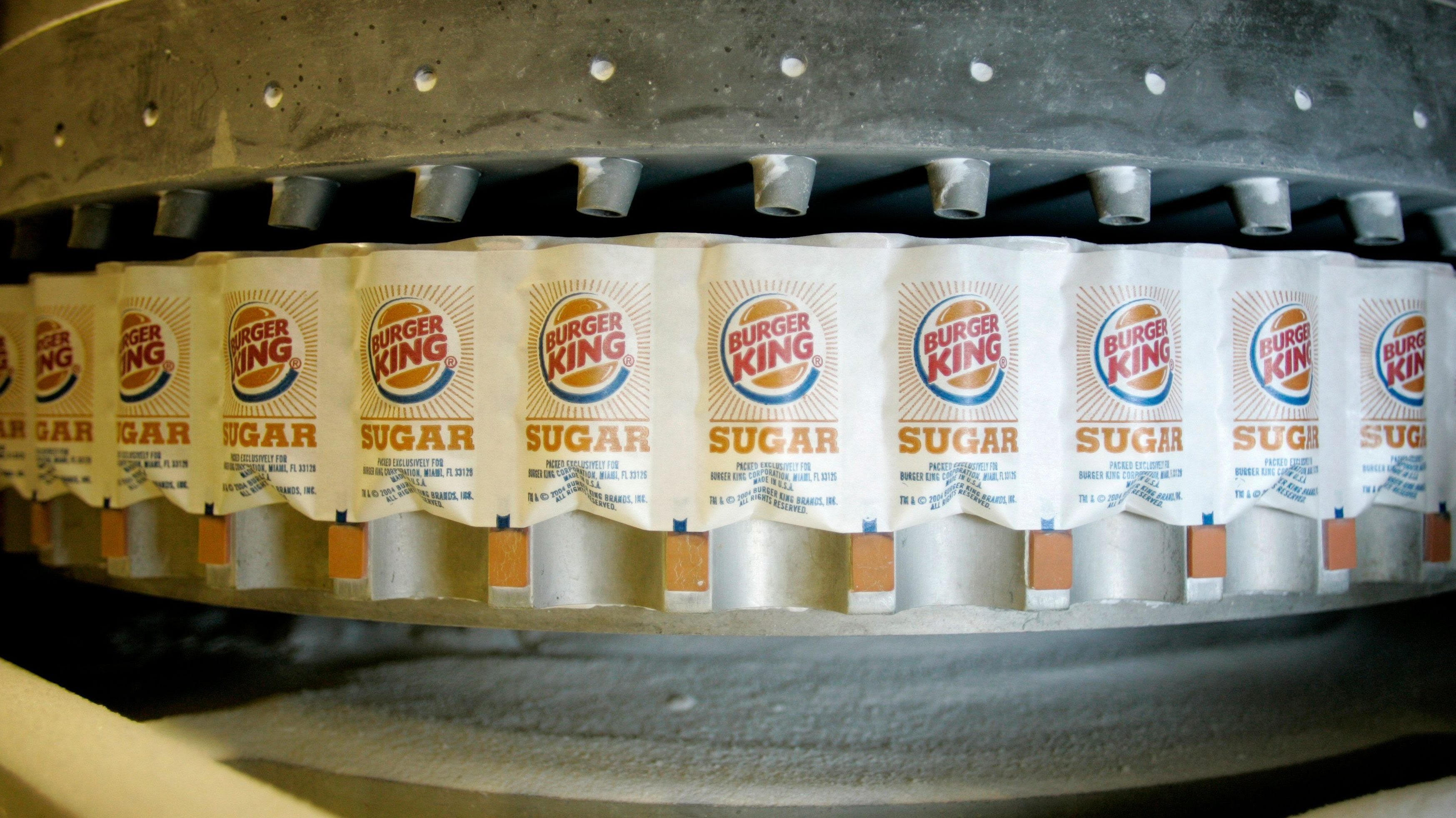 Bags of Florida Crystals cane sugar are filled with the Burger King label at the Florida Crystals Corp. sugar mill, refinery and power plant in Okeelanta, Florida, on July 9, 2008.