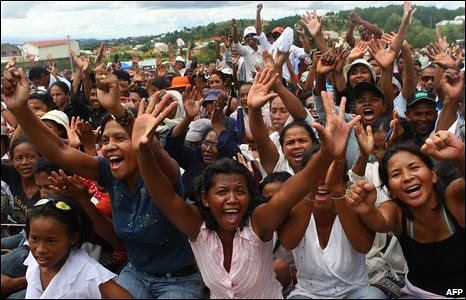 """Madagascar supporters of President Marc Ravalomanana who was overthrown by the opposition and the military. The African Union has condemned the actions of the opposition and the military as a """"coup."""" by Pan-African News Wire File Photos"""