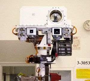 A close-up of Curiosity's head...which contains the Mastcam and other imaging devices used to help the rover navigate on the surface of Mars.