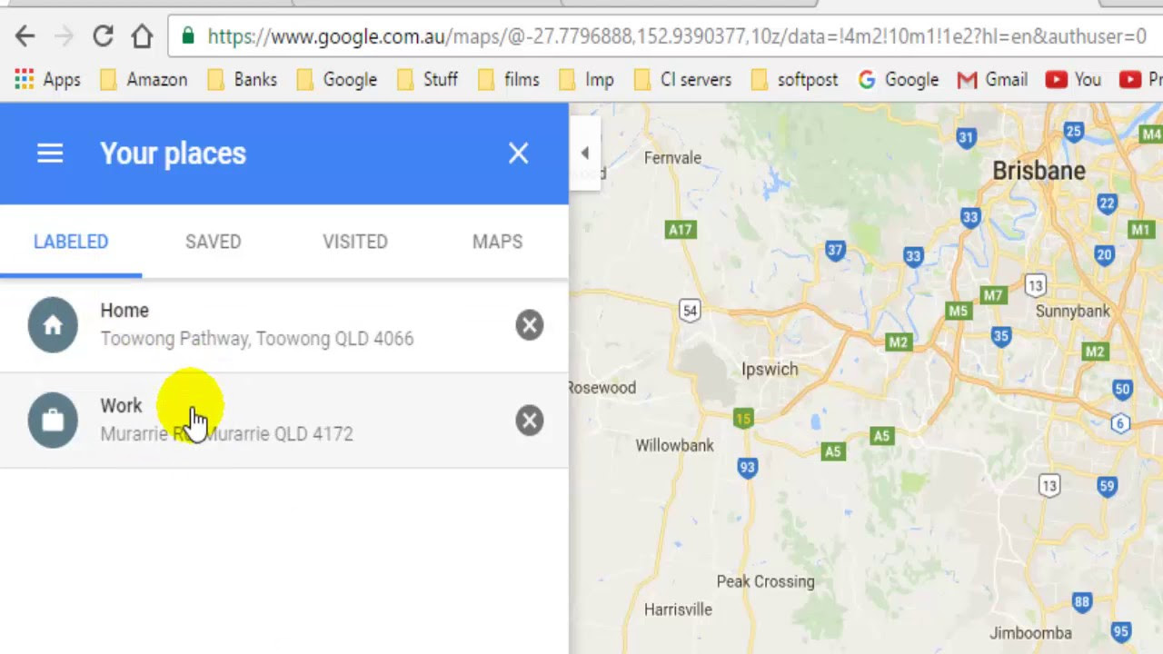 How To Change Home And Work Address In Google Maps Youtube