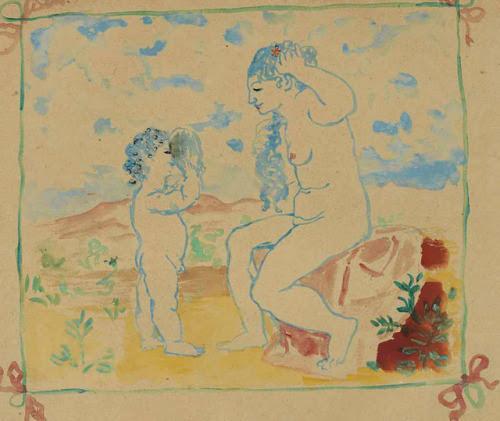 dionyssos:  [ P ] Pablo Picasso - Femme se regardant dans un miroir tenu par un enfant (1905) Cea.