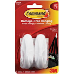 3M 17081 Command Designer Medium Hooks-White 2 Hooks and 4 Strips
