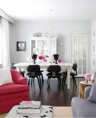 dining rooms - Benjamin Moore - Stonington Gray - pink blue gray black Gus dining chairs white dining table crystal chandelier white buffet hutch cabinet pink chair blue velvet sofa butterfly ottoman blue gray walls living room