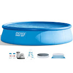 Intex 18Ft x 48In Inflatable Round Outdoor Above Ground Swimming Pool Set by VM Express