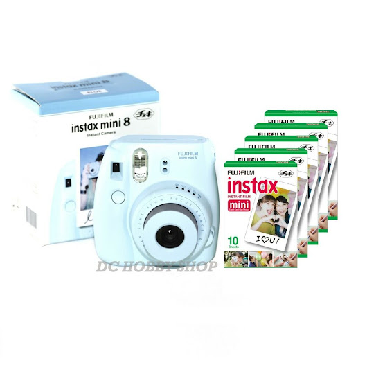 Details about  Fuji instax mini 8 blue Fujifilm instant camera + 50 film