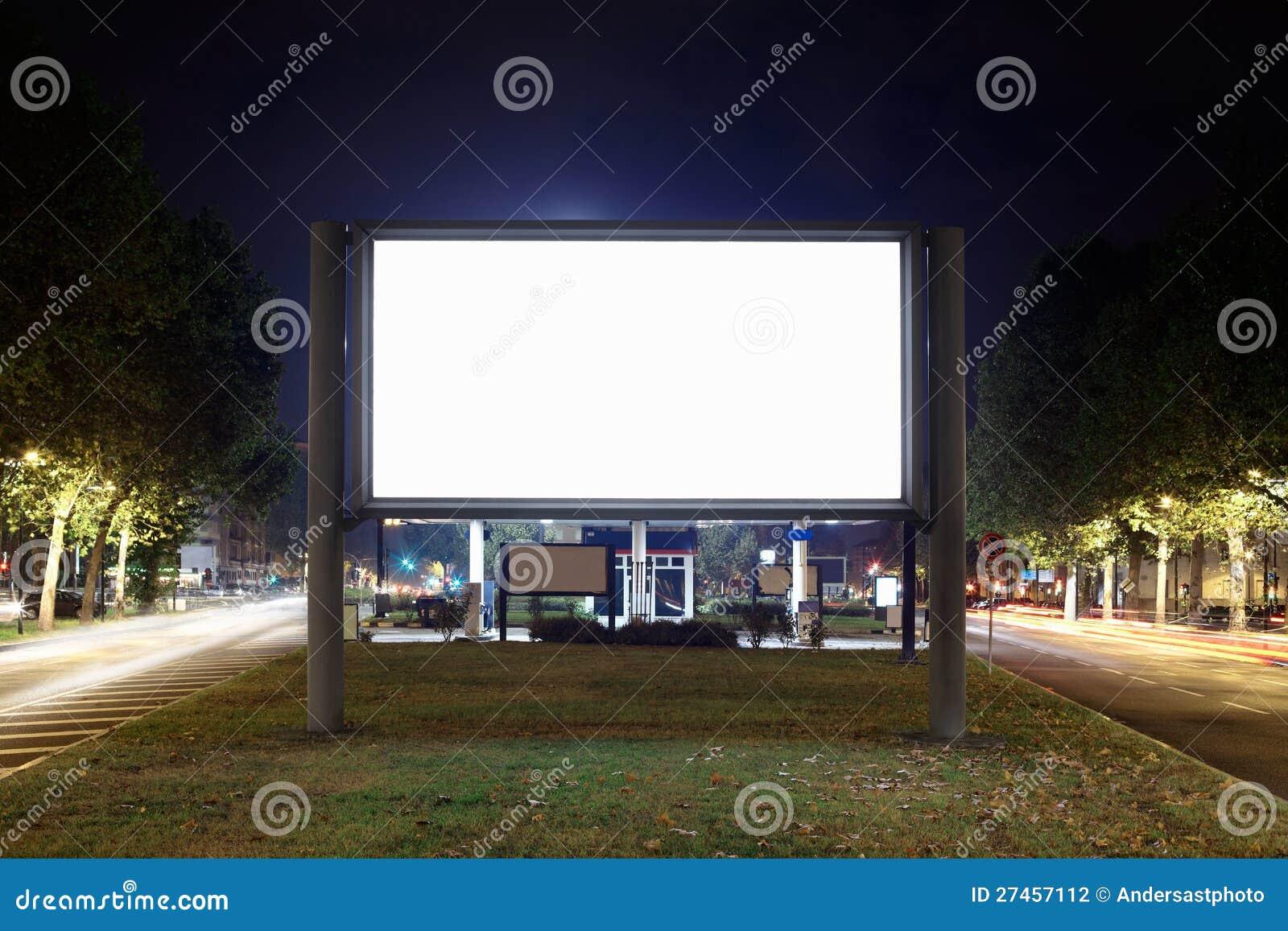 Blank Billboard At Night Stock Photography - Image: 27457112