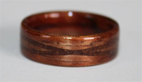 Hawaiian Koa and Greyed Maple Wood Rings with Cinnamon inlays