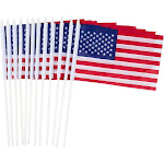12 Piece Set Of Usa Mini Flags - Small United States Stick American Flags for Election Day, Veteran'S Day, Flag Day - Flag Measures 8.5 X 5.5 inches,