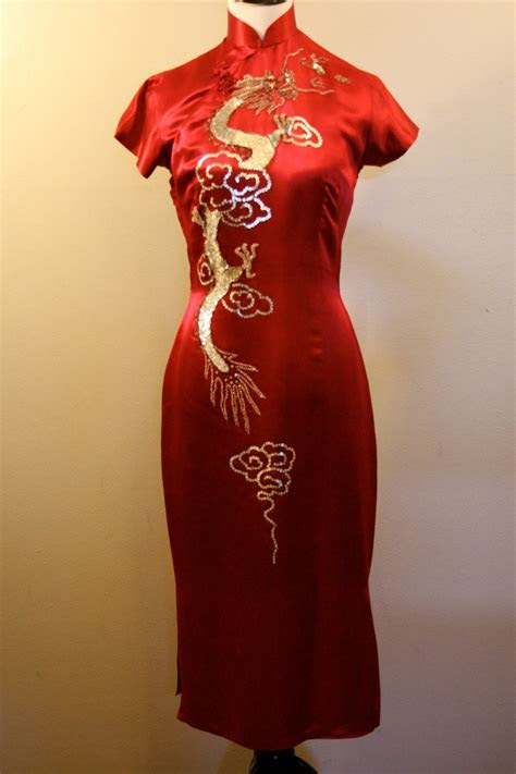 red silk chinese dress cheongsam dress dragon dress