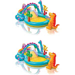 Intex Kids Inflatable Dinoland Play Center Slide Pool and Games for 2+ (2 Pack)