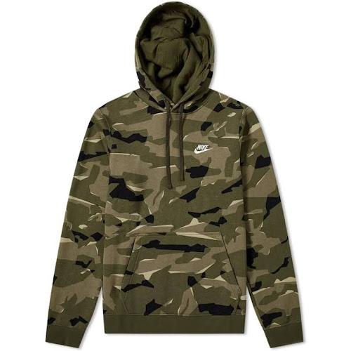 2be3d2223 Nike Sportswear Club Men's Camo Pullover Hoodie, Cargo Khaki, M ...