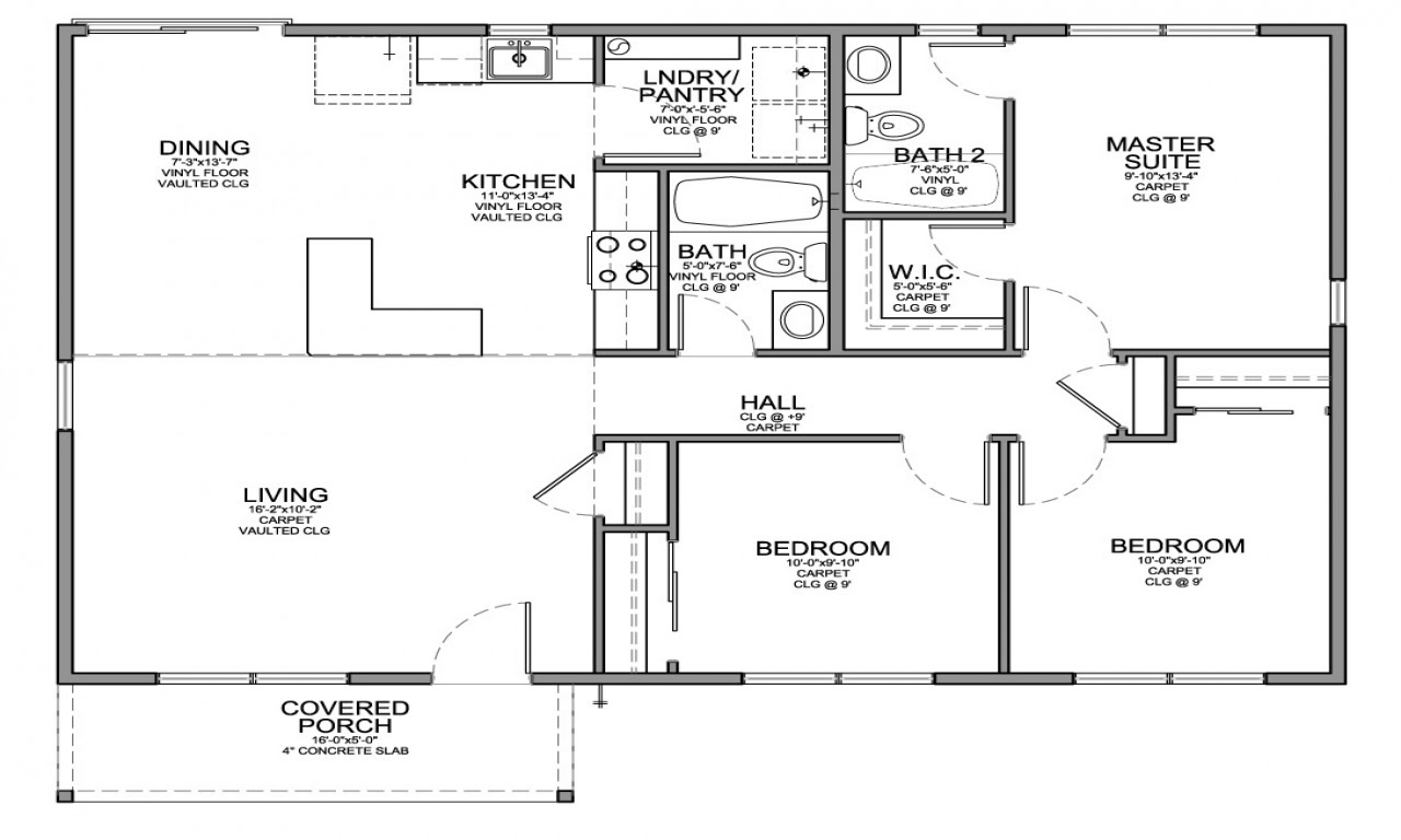 3 Bedroom House with Garage Small 3 Bedroom House Floor ...