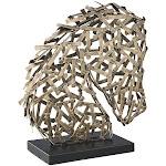 Ashley Nahla Metal Stallion Sculpture in Antique Gold - A2000317