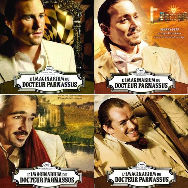 Jude Law, Colin Farrell e Johnny Depp substituíram Heath Ledger em o Mundo Imaginário do Dr. Parnassus; Na trama, o rosto do personagem mudava a cada nova dimensão (Foto: Reprodução)