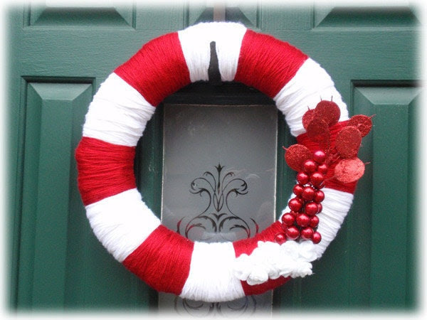Christmas Holiday Wreath Yarn Candy Cane Red White