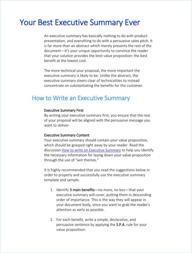 Writing Executive Summary Template 1 650x856