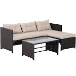Outsunny 3-Piece Outdoor Rattan Wicker Sofa and Chaise Lounge Set Brown Tan