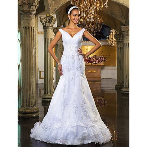 Trumpet/Mermaid Plus Sizes Wedding Dress   White Court