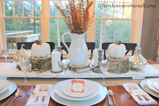 Thanksgiving Tablescape with Pumpkin Place Cards - Life on Kaydeross Creek