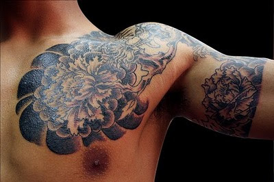 Black Ink Half Sleeve Tattoo On Chest And Half Sleeve