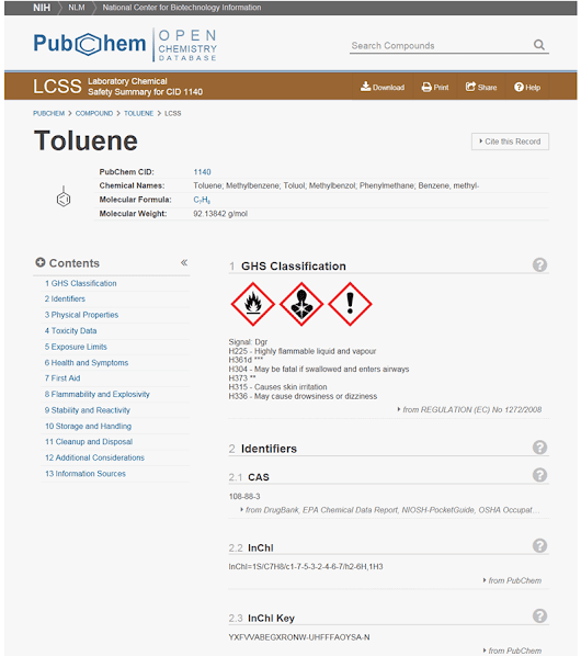 A Laboratory Chemical Safety Summary (LCSS) now available in PubChem