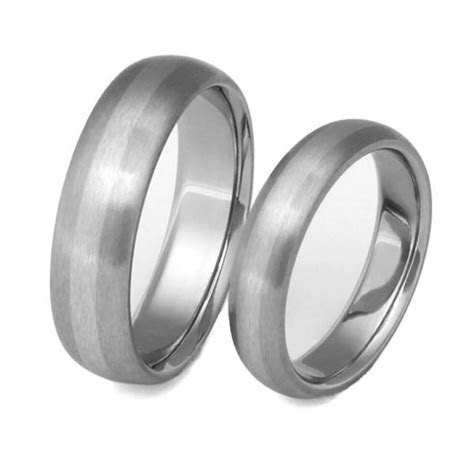 Matching Titanium Platinum Wedding Band Set   stp3