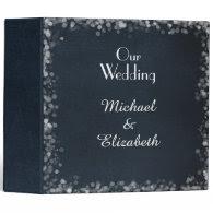 Classy Black Chalkboard Bokeh Lights Wedding Binders