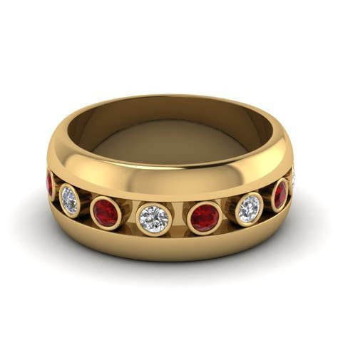 Bezel Diamond Mens Wedding Band With Ruby In 14K Yellow