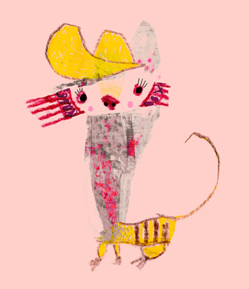 Jacinthe Chevalier chat cat collage rose miaw minou chapeau jaune