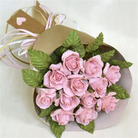 1st Wedding Anniversary Gift   Pink Paper Rose Bouquet