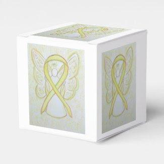 Yellow Awareness Ribbon Angel Party Favor Box