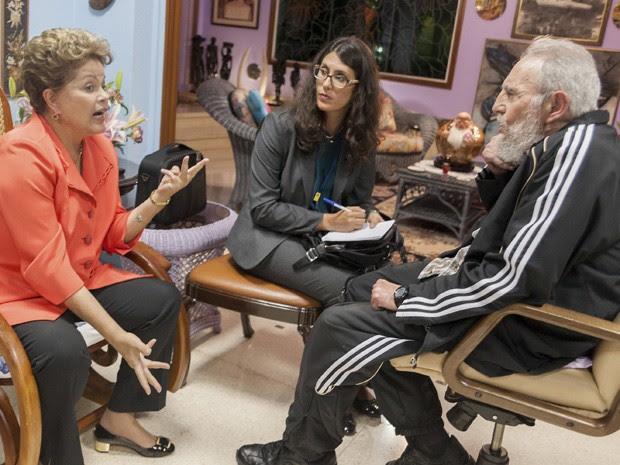 Dilma Rousseff com Fidel Castro