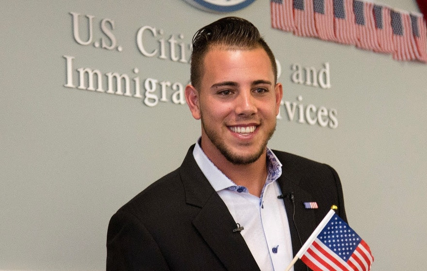 FILE - In this Friday, April 24, 2015, file photo, Miami Marlins pitcher Jose Fernandez smiles after becoming a U.S. citizen during a naturalization ceremony in Miami. The Marlins announced Sunday, Sept. 25, 2016, that ace right-hander Fernandez has died. The U.S. Coast Guard says Fernandez was one of three people killed in a boat crash off Miami Beach early Sunday. (AP Photo/J Pat Carter, File)