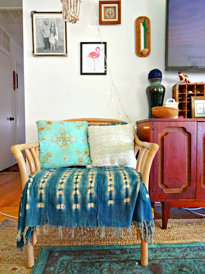 rattan chair with faux upholstery job using vintage indigo mud cloth