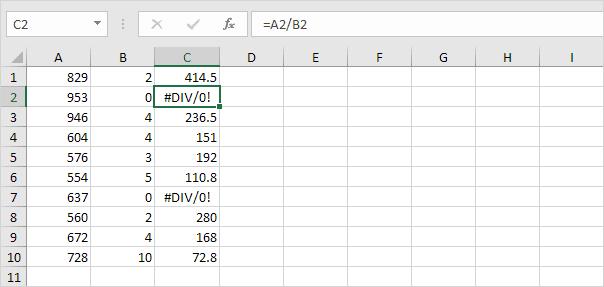 Div/0! Error